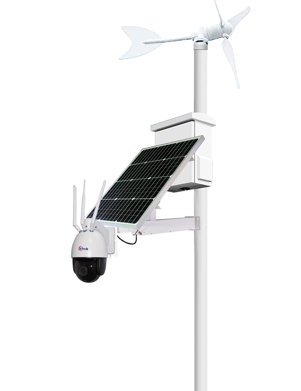 100W Solar&Wind Energy 2.0M Pixels HD 5X Optical Zoom 4G PTZ IP Camera Kit
